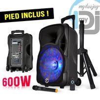 "Mydj - My Deejay Pack Magik12 - Enceinte sono mobile Leds Rvb 600W 12"" Usb/SD/BT + Pied + Micro"