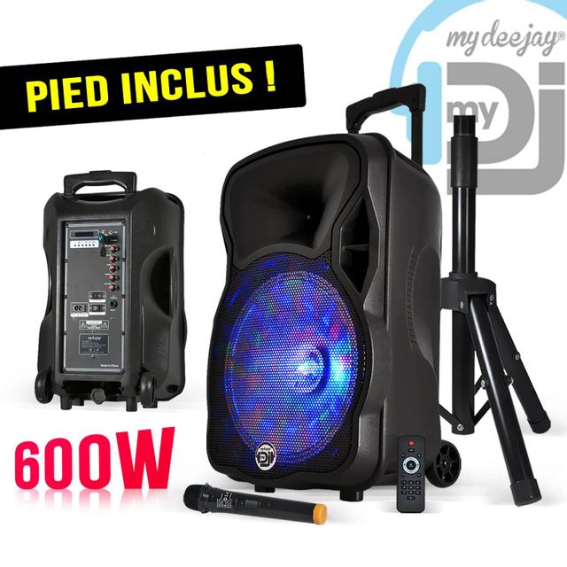 Mydj My Deejay Pack Magik12 - Enceinte sono mobile Leds Rvb 600W 12