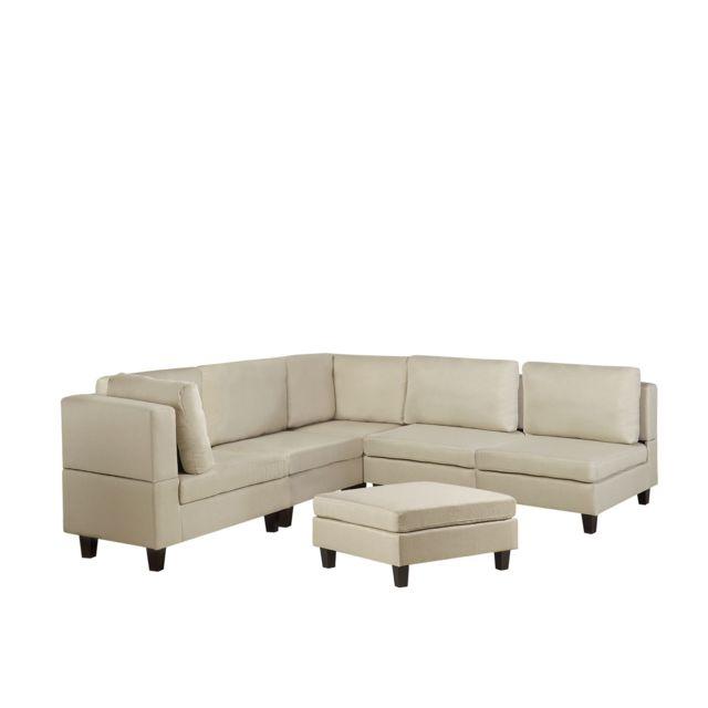 BELIANI Canapé angle modulable 5 places en tissu beige avec pouf ottoman FEVIK - beige