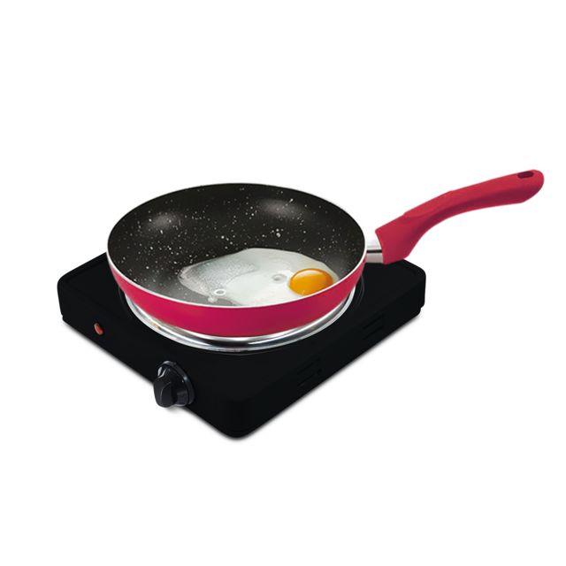 Pem Plaque de cuisson électrique simple 1500W + Set 3 poêles Framboise