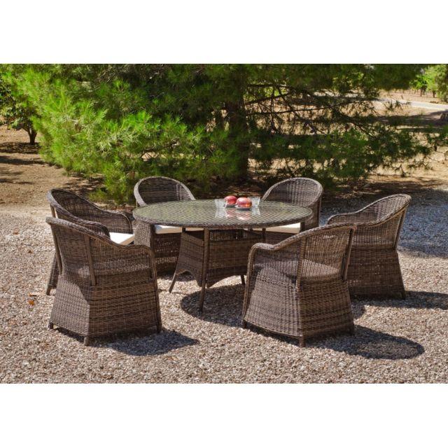 HEVEA JARDIN HEVEA - Table de jardin ronde  Amanda  150 cm + 6 fauteuils avec coussins blancs cassés