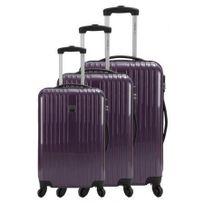 France Bag - Set de 3 Valises Rigide Abs et Pc 4 Roues 50-60-70cm Violet