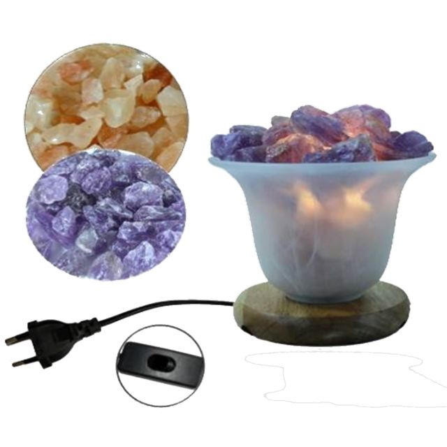 Jolipa Lampe à sel 13 cm avec supplément d'améthyste