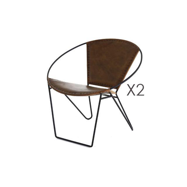 Lot de 2 fauteuils revêtement cuir - Retro
