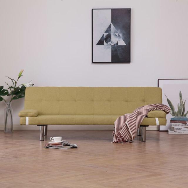Inedit Meubles reference Lomé Canapé-lit avec deux oreillers Vert Polyester