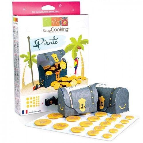 Scrapcooking Kit chocolat 'trésor du pirate' pour réaliser un coffre aux trésors remplis de pièce en chocolat