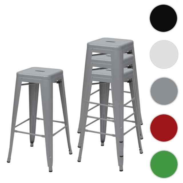 Mendler 4x tabouret de bar Hwc-a73, chaise de comptoir, métal, empilable, design industriel ~ gris