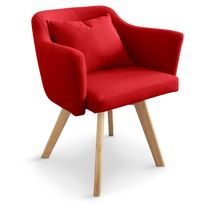 MENZZO - Chaise / Fauteuil scandinave Dantes Tissu Rouge