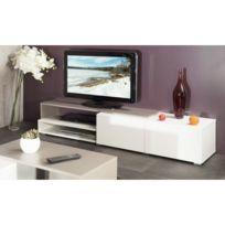 Inside  Pacific Meuble Tv Couleur Blanc Et Taupe Laque Brillant Grand Modele