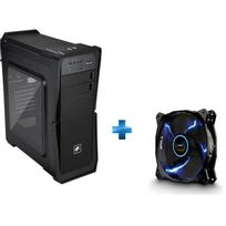 LEPA - Boîtier PC LPC502 - Noir + Ventilateur Bol Quiet PWM - 12 cm - LED Bleu