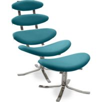 Privatefloor - Fauteuil Corona avec ottoman assorti - Style Poul Volther - Simili Cuir Turquoise