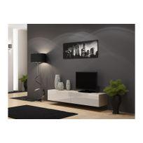 CHLOE DESIGN - Meuble tv design suspendu Vito 180cm - bois et blanc