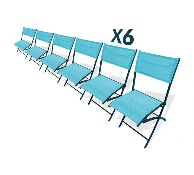 Dcb Garden Lot de 6 chaises pliantes turquoises