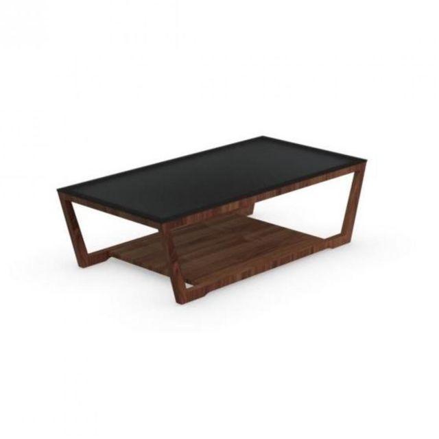 Inside 75 Table basse Element noyer avec plateau en verre noir de