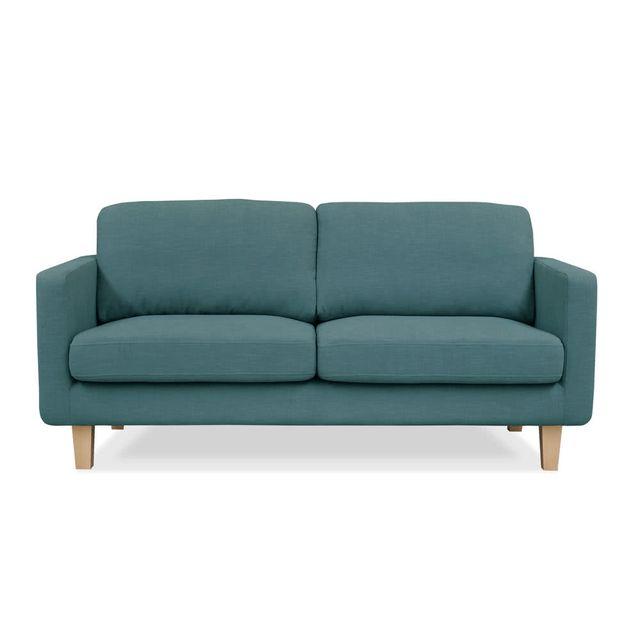 Kaligrafik Canapé droit fixe en coton lin avec pieds en bois Tomma - Bleu - 2 places