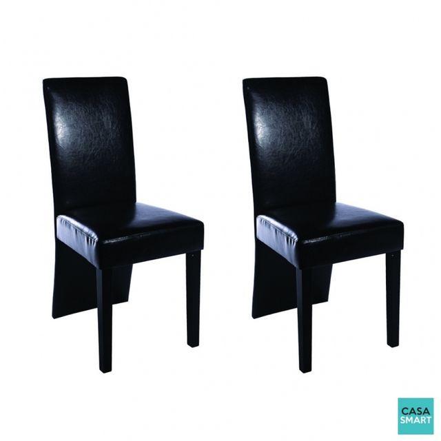 Chaise Moderne Pas Cher.Lot De 2 Chaises Moderne Simili Cuir Noir