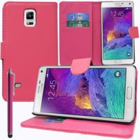 Vcomp - Housse Coque Etui portefeuille Support Video Livre rabat cuir Pu pour Samsung Galaxy Note 4 Sm-n910F/ Note 4 Duos Dual Sim, N9100/ Note 4 CDMA, / N910C N910W8 N910V N910A N910T N910M + stylet - Rose