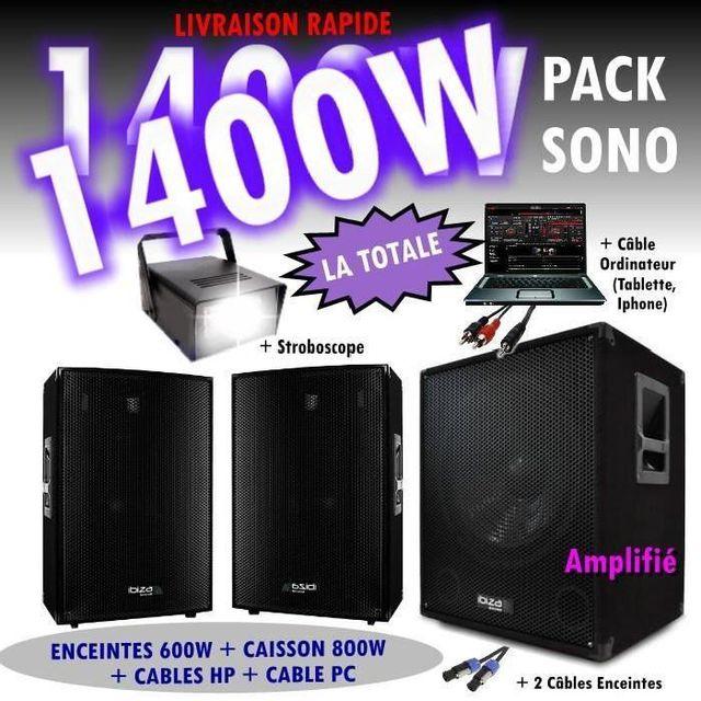Ibiza Sound Pack sono dj 1400w cube 1512 avec caisson - encentes - cables hp et pc - jeux de lumière strobo led pa dj led light soun