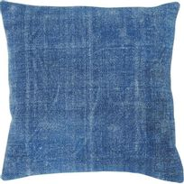 Athezza - Coussin 100 % coton lavé 45x45 cm turquoise