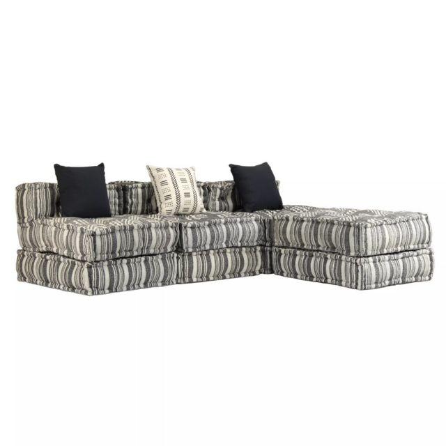 Moderne Meubles collection Windhoek Canapé modulaire à 3 places Tissu Rayure