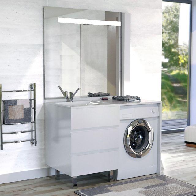 Creazur Meuble vasque à Gauche Kora 124 Ll G Blanc - hors Ll