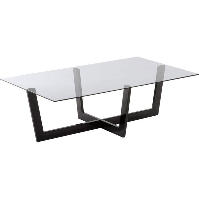 Table Salon Plateau En Verre Trempe Transparent Avec Pieds En Acier Peint A L Epoxyde 120x70cm C Tomba