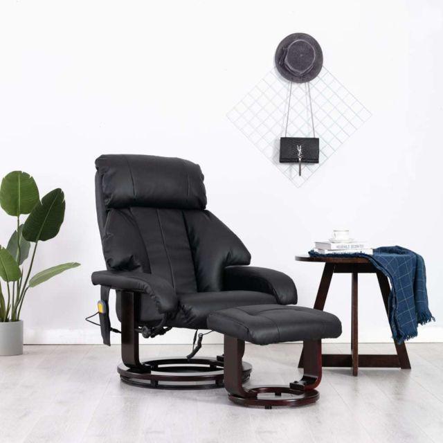 Vidaxl Fauteuil de Massage Tv Noir Similicuir Electrique Inclinable Salon
