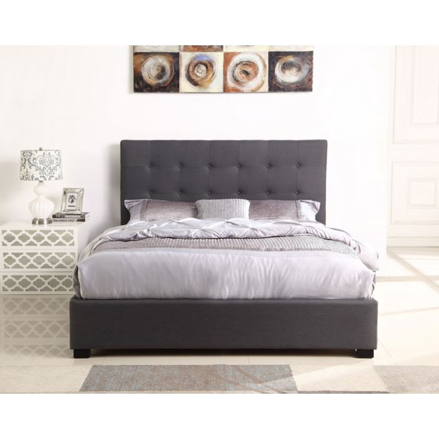 lit coffre layton sommier 140cm tissu gris 150cm x 205cm pas cher achat vente structures. Black Bedroom Furniture Sets. Home Design Ideas