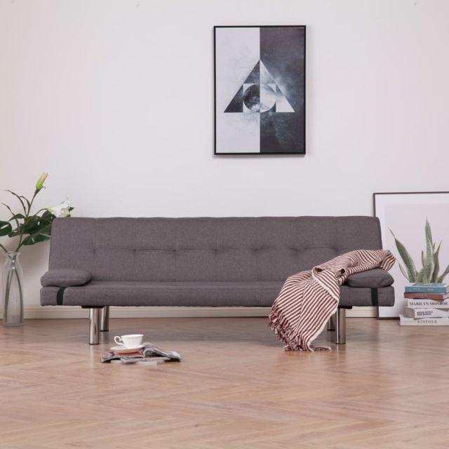 Magnifique Meubles selection Achgabat Canapé-lit avec deux oreillers Taupe Polyester