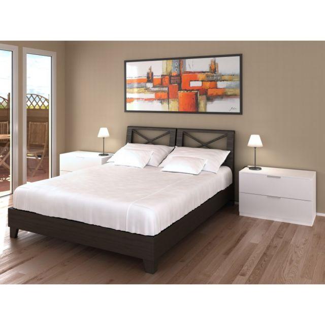 Ma Maison Mes Tendances Commode 2 tiroirs blanche 80 cm Arada - L 80 x l 41.4 x H 52.5