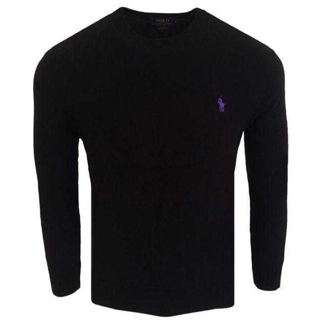 097d1f3b51dd Ralph Lauren - Pull coton pima Pull Rf70 noir et Violet - pas cher Achat    Vente Pull homme - RueDuCommerce