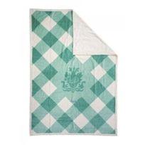 Lodger - Dmc015 - Couverture À Carreaux - Turquoise Blanc - 100% Coton - Pour Lit À Barreaux