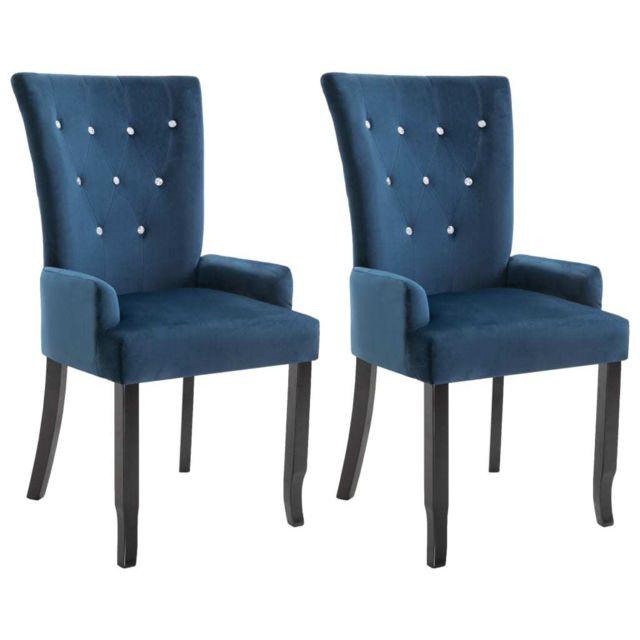 Chaise de salle à manger et accoudoirs 2 pcs Bleu foncé Velours