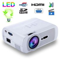 Yonis - Mini vidéoprojecteur portable Led 1000 Lumens Hd Carte Sd Usb Blanc