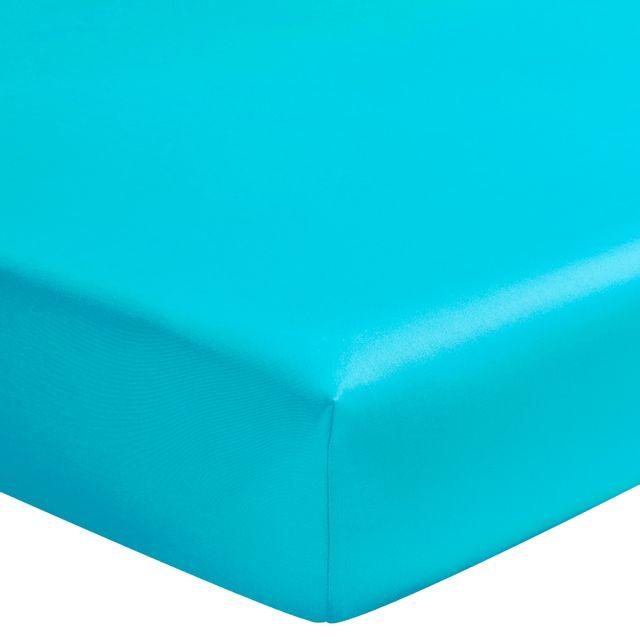 essix drap housse double satin de coton lagune 2 x 80 x 200 cm pas cher achat vente. Black Bedroom Furniture Sets. Home Design Ideas