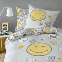 Housse de couette et taie doreiller SMILEY MARINE 100/% Coton SMILEY 140 x 200 cm
