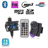 Yonis - Transmetteur Fm Bluetooth télécommande voiture kit main libre 16 Go