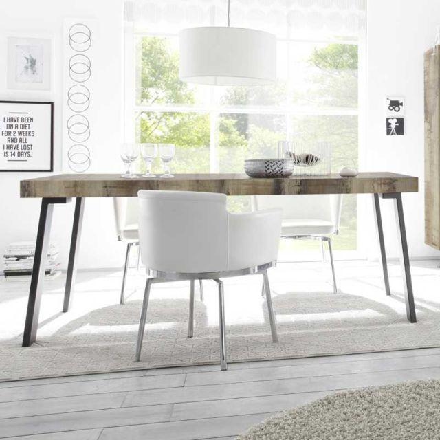 Tousmesmeubles Table de repas Planches bois/Métal - Palerme