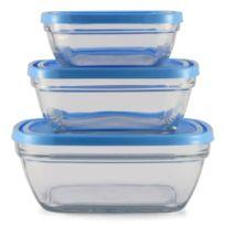 Duralex - Lot de 3 plats congelations 14/17/20 cm bleu et transparent