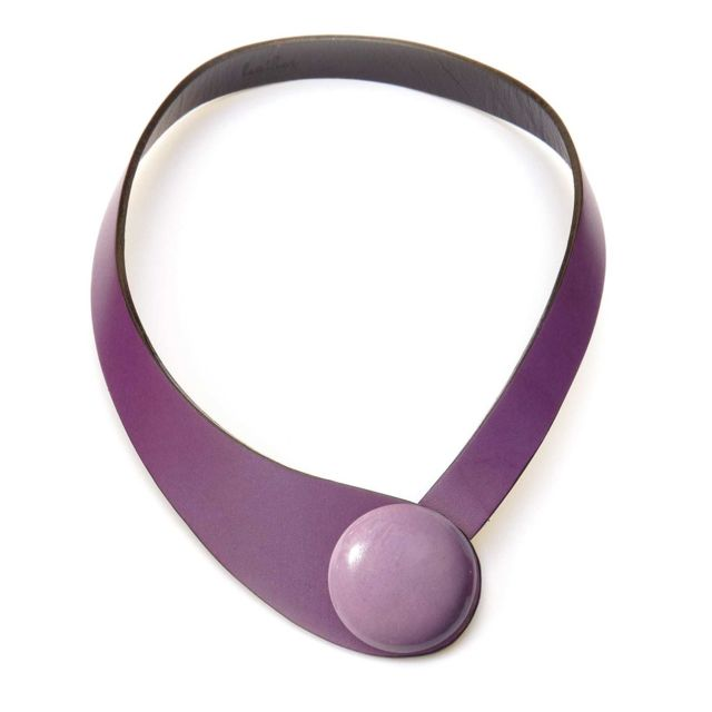 Ceraselle Collier cuir violet et céramique violet