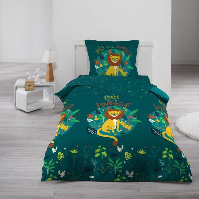 Ligne Douceur Cdaffaires Parure de drap 90 x 190 cm imprimé 100% coton 57 fils allover petit lion