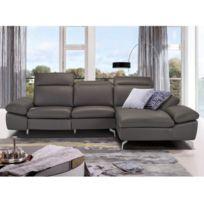 494b6e6c2f6 MARQUE GENERIQUE - Canapé d angle relax électrique en cuir de buffle  MARSALA - Anthracite