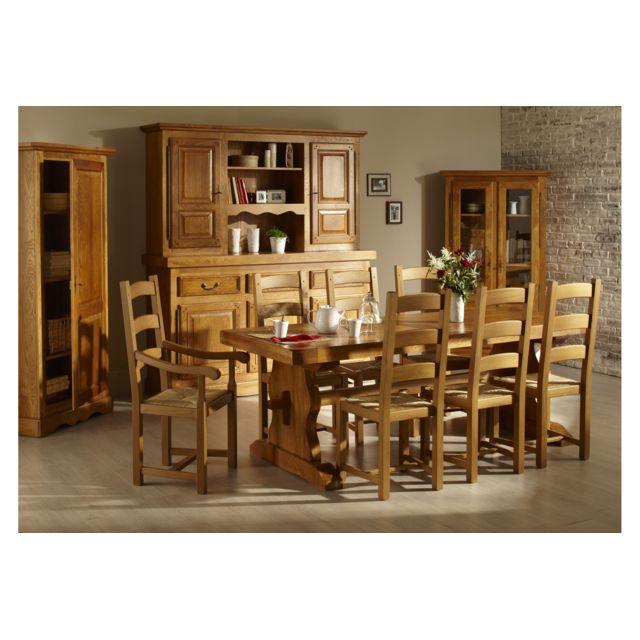 HELLIN Table monastère La Bresse + 6 chaises en bois