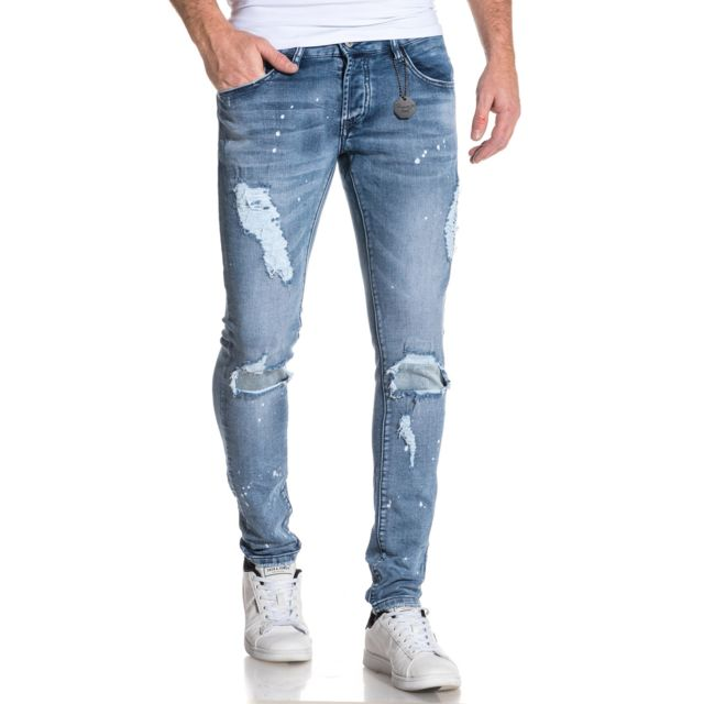 4fda5f9d011dc Project X - Jean skinny stretch délavé tacheté homme Bleu - pas cher ...