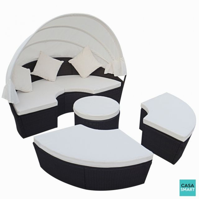 CASASMART - Salon de jardin avec auvent modulable polyrotin noir ...