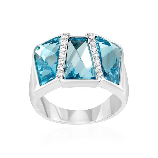 Blue Pearls - Bague Rectangle en Cristal de Swarovski Elements Bleu - Cry  H407 C 50 Plaqué or - pas cher Achat   Vente Bagues femme - RueDuCommerce 2da7d76fed1c