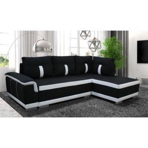 chloe design canap d 39 angle convertible amelie tissu noir et blanc angle droit 255cm x. Black Bedroom Furniture Sets. Home Design Ideas
