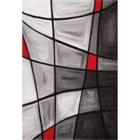 Nazar - Brillance Tapis De Salon 120x170 Cm Rouge, Noir Et Gris