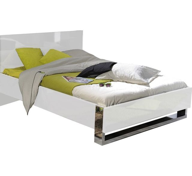 COMFORIUM Lit Double Design X Coloris Blanc Laqué Et - Lit design 160 x 200