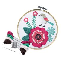 Avenue Mandarine - Kit d'Initiation Broderie Enfant - Rose et Oiseau